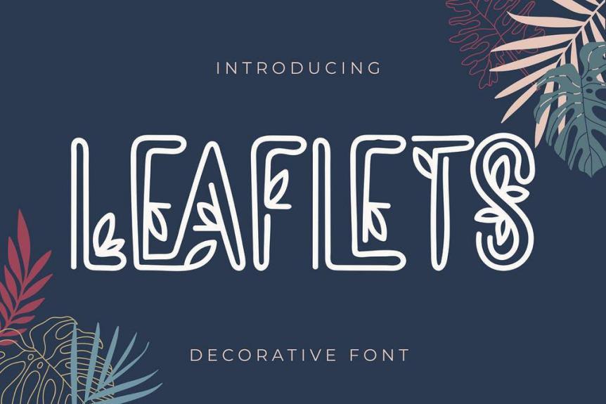 Leaflets Decorative Font