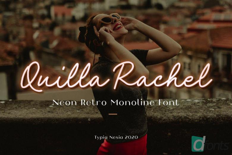 Quilla Rachel Neon Script