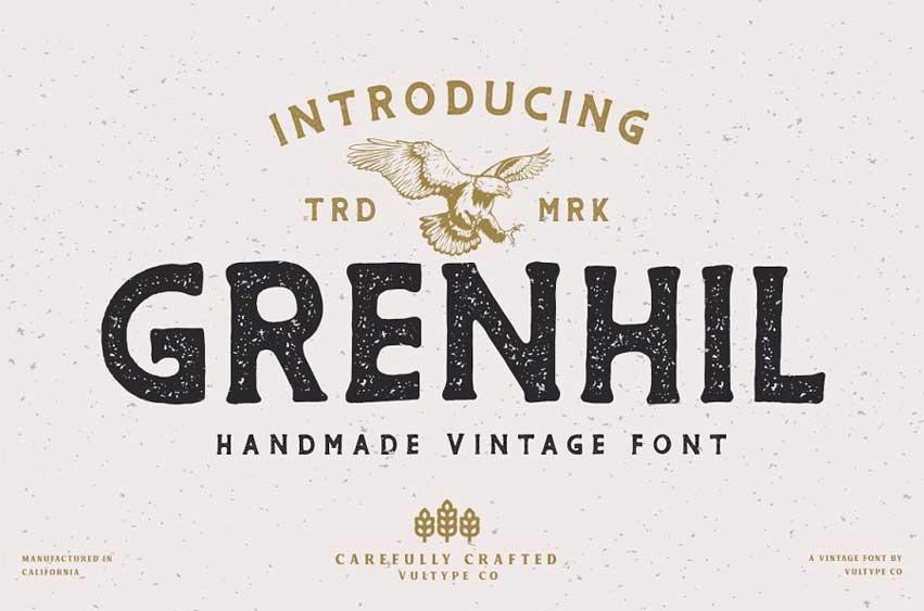 Grenhil - Handmade Vintage Font