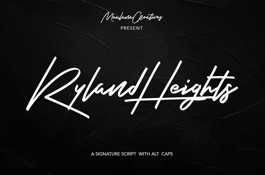 Ryland Heights Signature Script Font