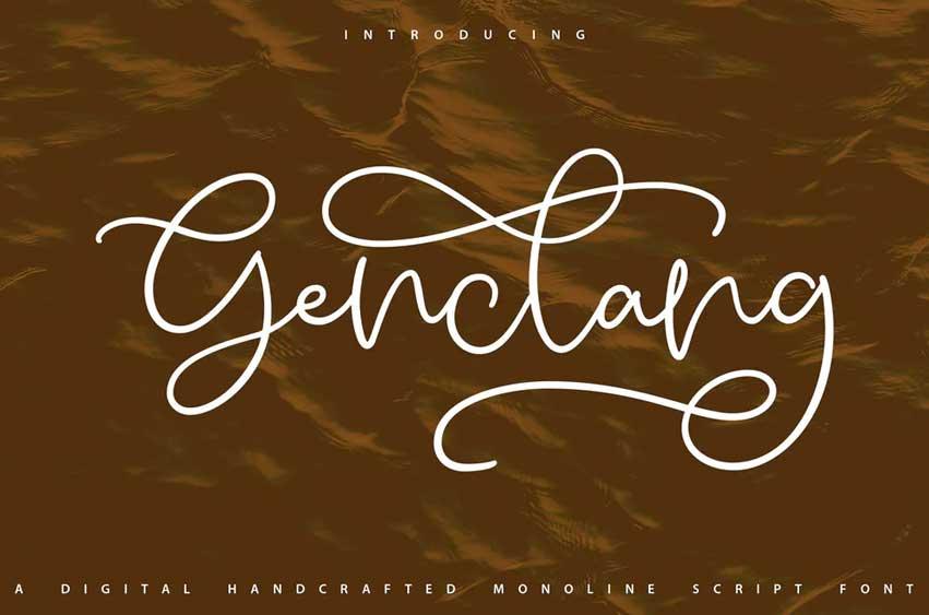 Genclang   Handcrafted Monoline Script Font