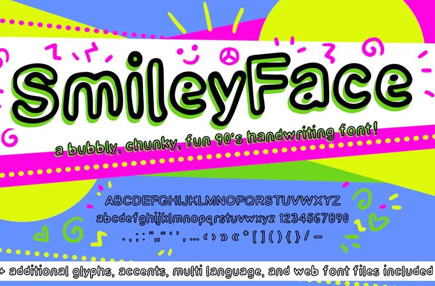 Smiley Face Retro Font