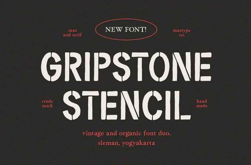 Gripstone Stencil Font