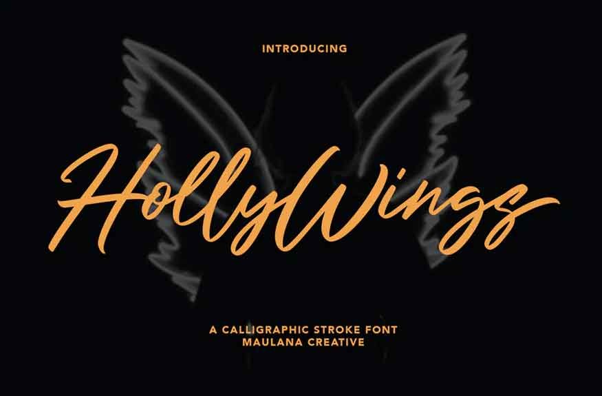 Holly Wings Calligraphic Font