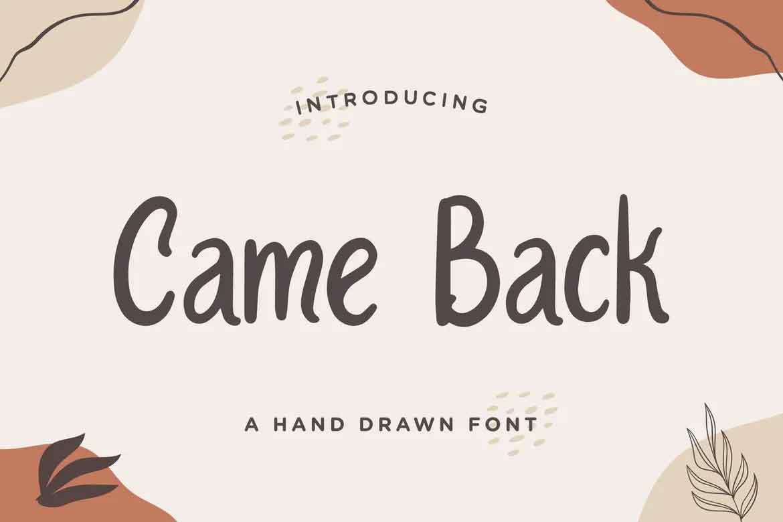 Came Back Handwritten Font