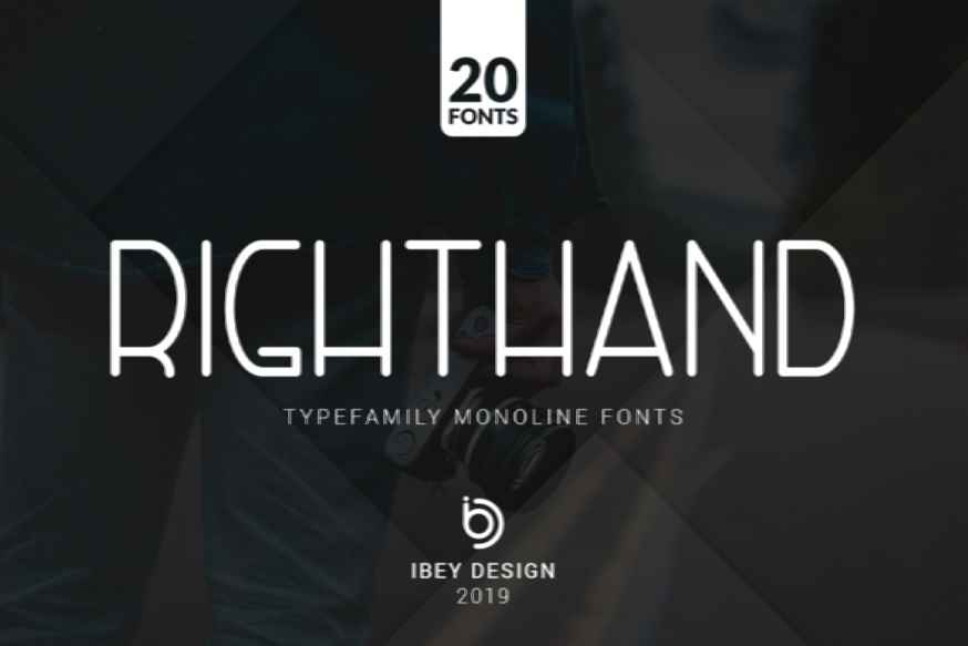 RightHand - 20 Monoline Fonts