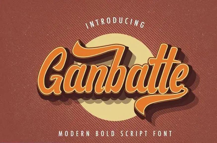 Ganbatte - Bold Script Font